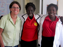 Linden with Chelangat and Caroline FOLK staff members